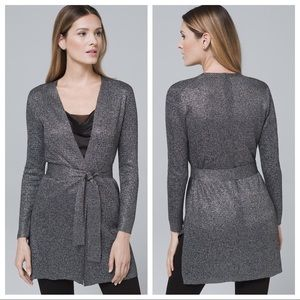 WHBM Metallic Belted Cover-up Cardigan Sweater